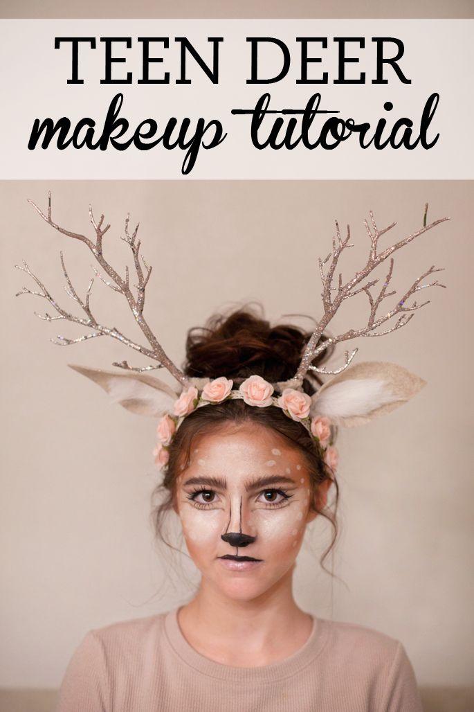 Teen deer Halloween makeup tutorial. Watch now!
