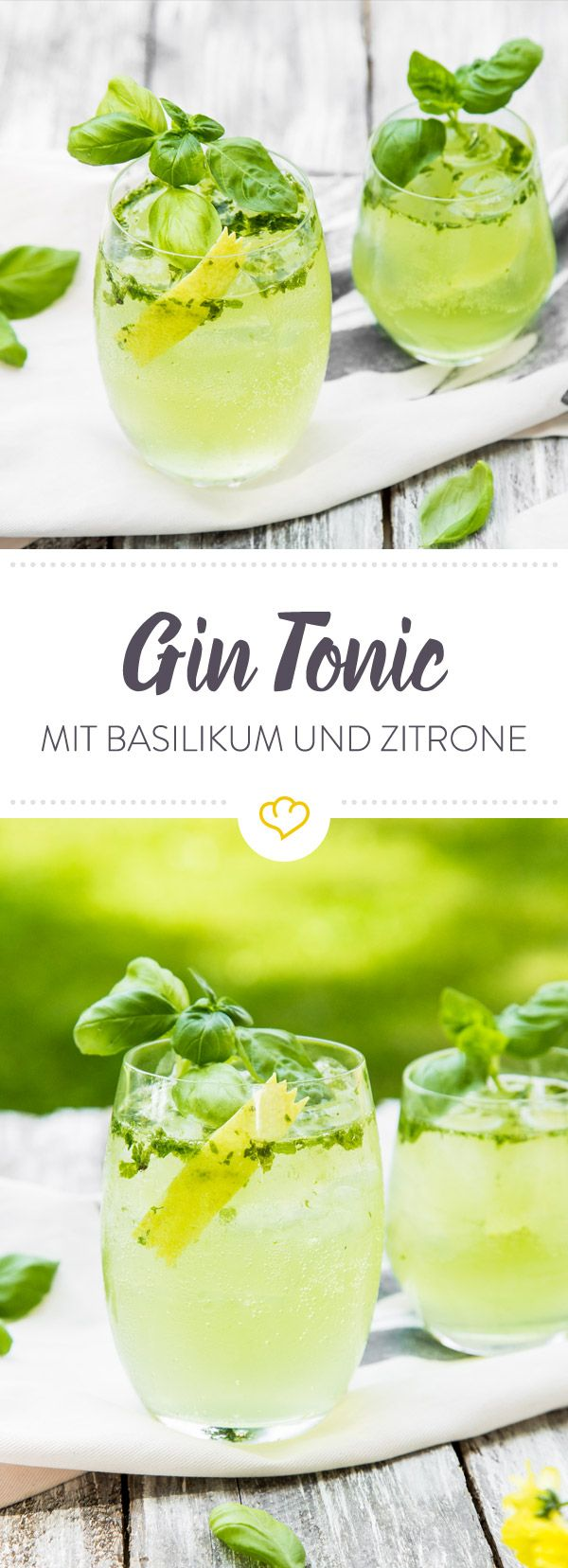 Du liebst Gin Tonic aber willst Abwechslung im Glas? Na dann mixe dir einen sommerlichen Gin Tonic Aperitif mit Lillet Blanc und frischem Basilikum.