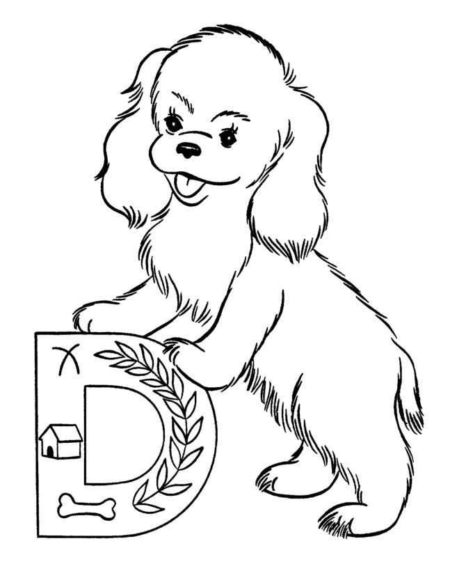 dog color pages printable Coloring