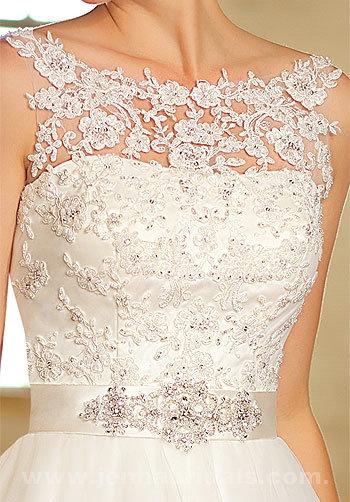 Essense Of Australia DJ1347 Bateau Lace And Satin A-Line Wedding Gown