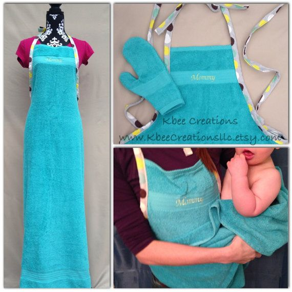 Personalized Bath Time Towel Apron to wear while bathing a baby/toddler by Kbee Creations. A must have for bath time!
