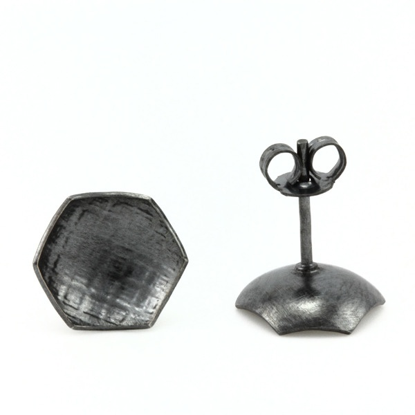 Oxidised Quilt Studs by Minnette