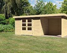 Pultdach Gartenhaus Modell Turin 4 mit Schleppdach und Seiten- Rückwand inkl. selbstklebender Dachfo