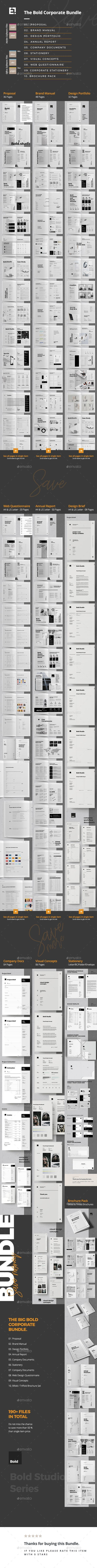 Company Bundle — InDesign INDD #minimal #trend • Available here ➝ https://graphicriver.net/item/company-bundle/20681335?ref=pxcr