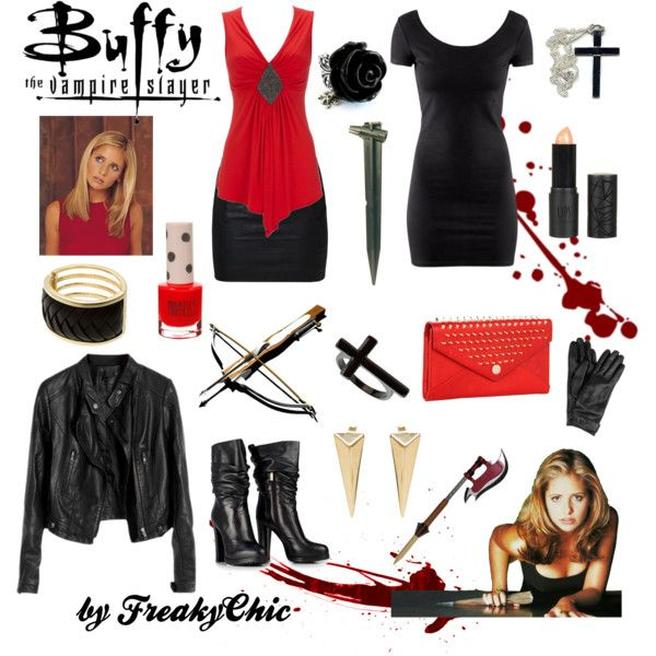 Ultimate look _ Buffy the Vampire Slayer by freakychic on Polyvore featuring H&M, ONLY, Rebecca Minkoff, Armani Exchange, Moratorium, Topshop, Mulberry and outfit buffy vampire slayer fashion red tv 90s