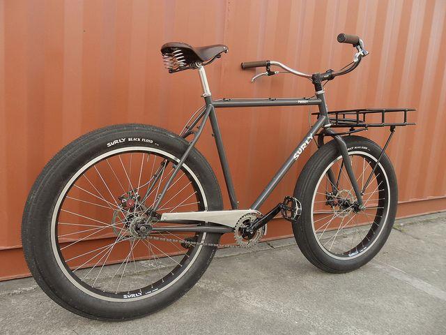 surly pugsley cruiser by bikernz via flickr mit gep cktr ger vorne ideal als cargo bike fat. Black Bedroom Furniture Sets. Home Design Ideas