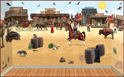 western backdrop wall mural kid s room theme idea s gallery for gt cowboy and western wall decals