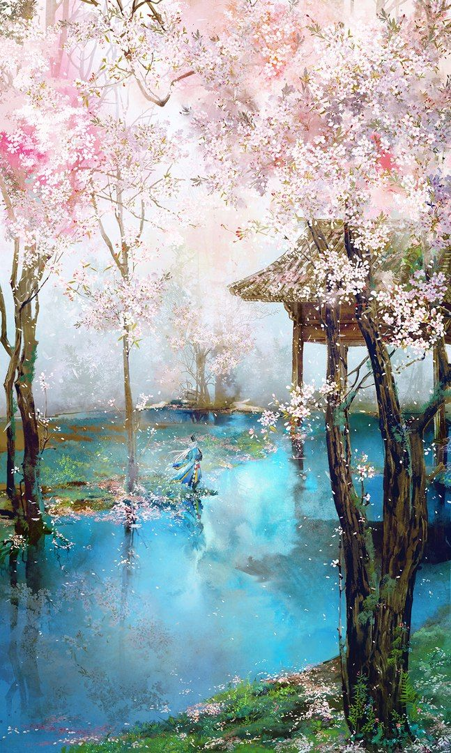i would like to know whos the artist that made this beautiful painting beautiful japanese at - Japanese Garden Cherry Blossom Paintings