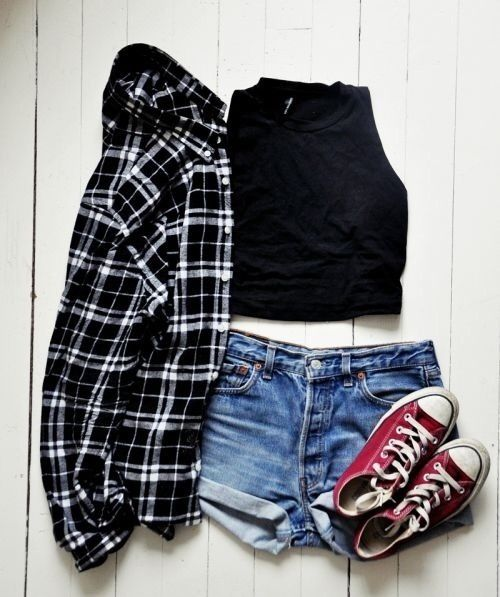 Checked shirt, crop top, denim shorts & red converse