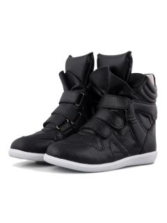 Shop Black Wedge Trainers with Fastening Tape from choies.com .Free shipping Worldwide.$66.99