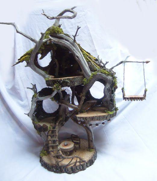Woodland Fairy House: I need to update our fairy house and add some furniture and stairs- love this angled design.