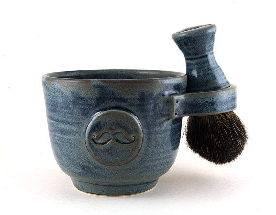 Mens Shaving Set Blue Mustache Shave Mug Black by MiriHardyPottery, $78.00  Neat gift for a man in your life