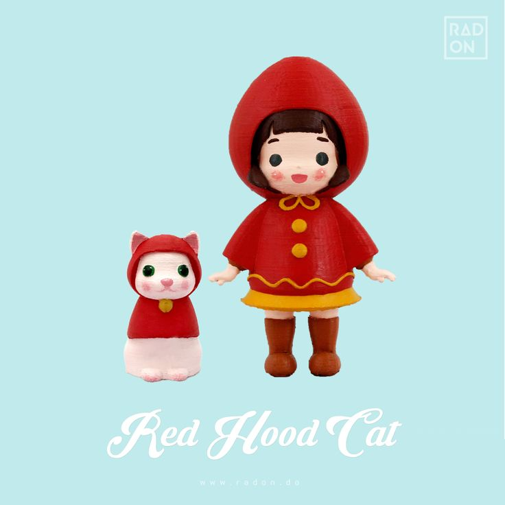 3D printed art toy!! The Red Hood Cat! How cute those are♥ You can make them alive with your stylishcoloring :D #Arttoy #3Dprinting #DIY #Coloring #Redhood #Cat #littleprince #RADON