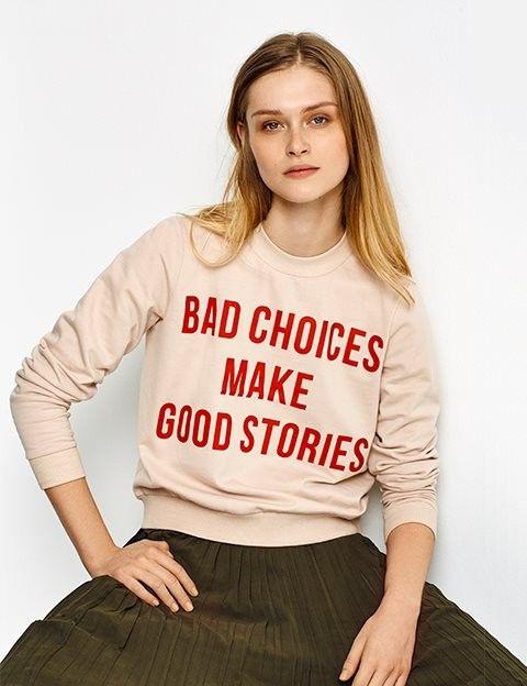 <ul> <li>Statement sweatshirt</li> <li>Loose fit with round neckline</li> <li>Material: 65% Cotton / 35% Polyester</li> <li>Machine washable</li> <li>Brand: MbyM</li> </ul> <p> </p>