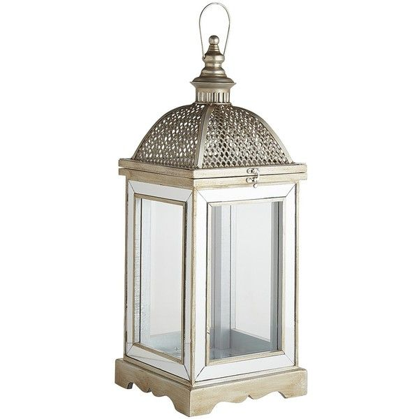 Pier 1 Imports Silver Hayworth Lantern ($95) ❤ liked on Polyvore featuring home, home decor, candles & candleholders, silver, silver candles, wall mount lantern, outdoor wall lantern, outside lanterns and outdoor pillar candles