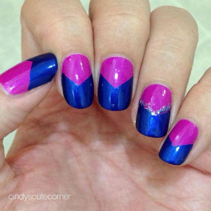Magenta and Navy Nails