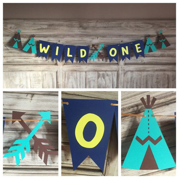 Bohemian Tribal Birthday Banner Indian Birthday by EricasCrafties Baby Shower Decorations Boho Chic Teepee $28
