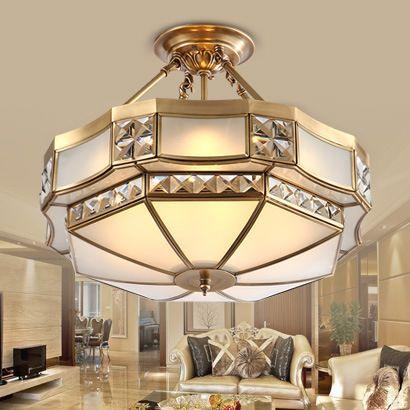 Европейский стиль все медные подвесные светильники кристалл гостиной из светодиодов спальня исследование лампы и фонари простой атмосфера ро