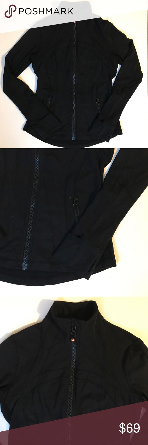Lululemon DEFINE Full Zip Black Athletic Jacket Older lululemon Define fitted jacket. 87/13 blend. Little sign of wear-mostly some pilling that can easily be removed, otherwise in great condition. Thumb holes and cuffins, vent at back, of red lululemon emblem zipper pull, fitted and easy to layer. Black color is not faded.   Make me an offer! lululemon athletica Jackets & Coats