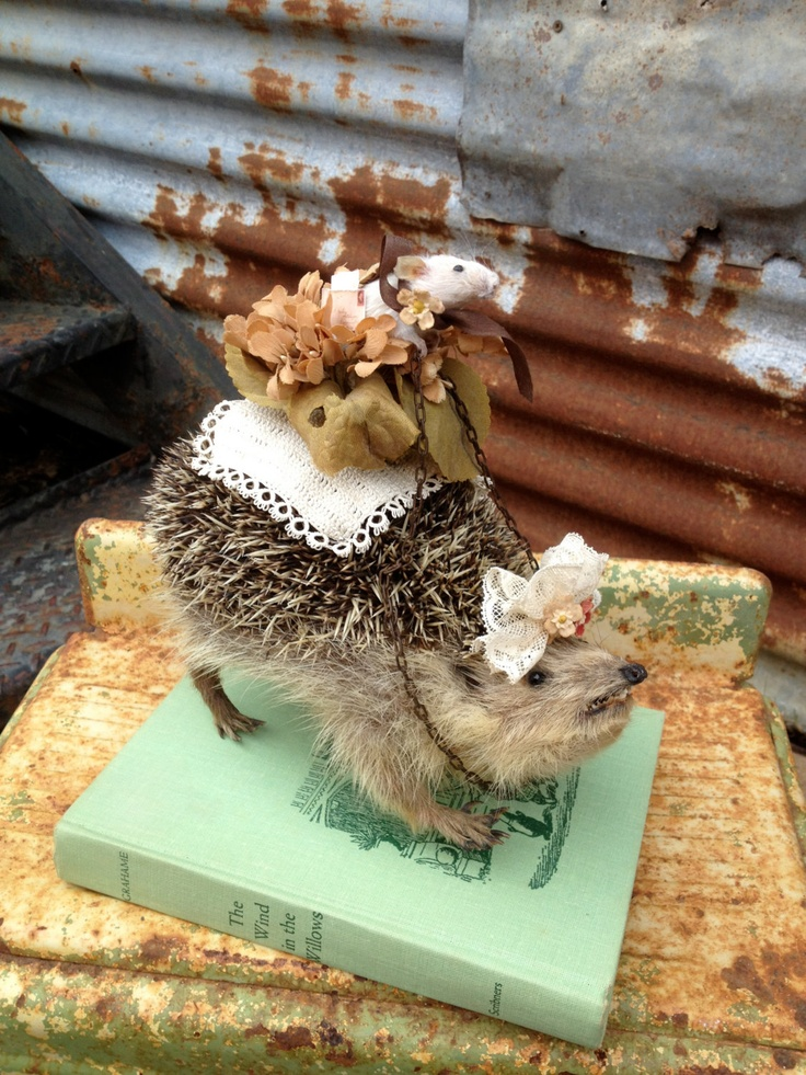 This Taxidermy Mouse Knows How To Get Around His Ride Is A Vintage Taxidermy Hedgehog. $275.99, via Etsy.