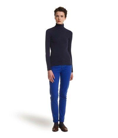 T-shirt col roulé femme en coton vintage uni