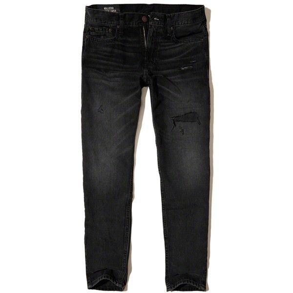 Hollister Classic Taper Jeans ($15) ❤ liked on Polyvore featuring men's fashion, men's clothing, men's jeans, black, mens ripped denim jeans, mens tapered jeans, mens zipper jeans, mens distressed jeans and mens distressed denim jeans