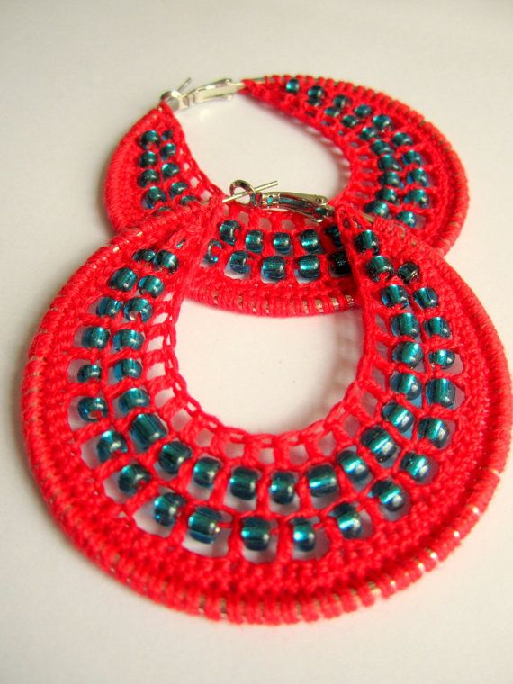 Crochet hoops with beads in Red by BohemianHooksJewelry on Etsy