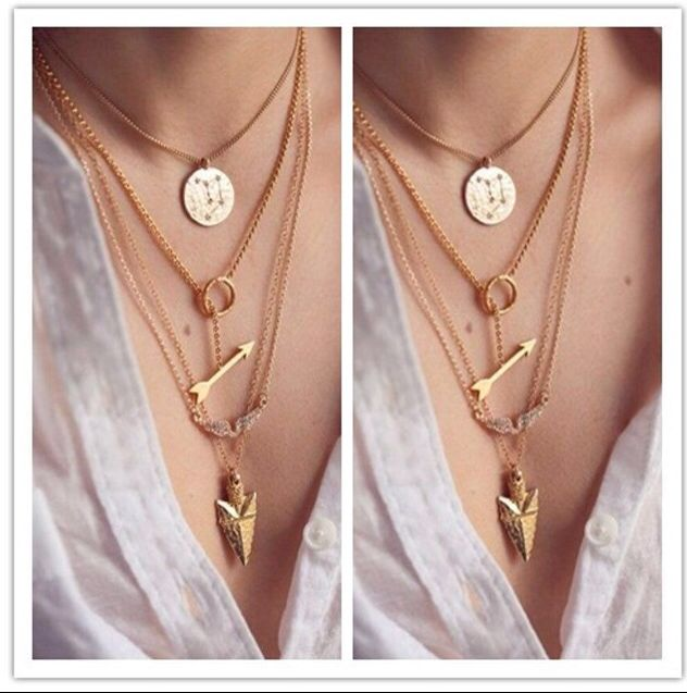 Bow and arrow multi layer gold necklace http://www.peachiecream.co.uk/#!product/prd1/3466441755/bow-and-arrow-multi-layer-necklace
