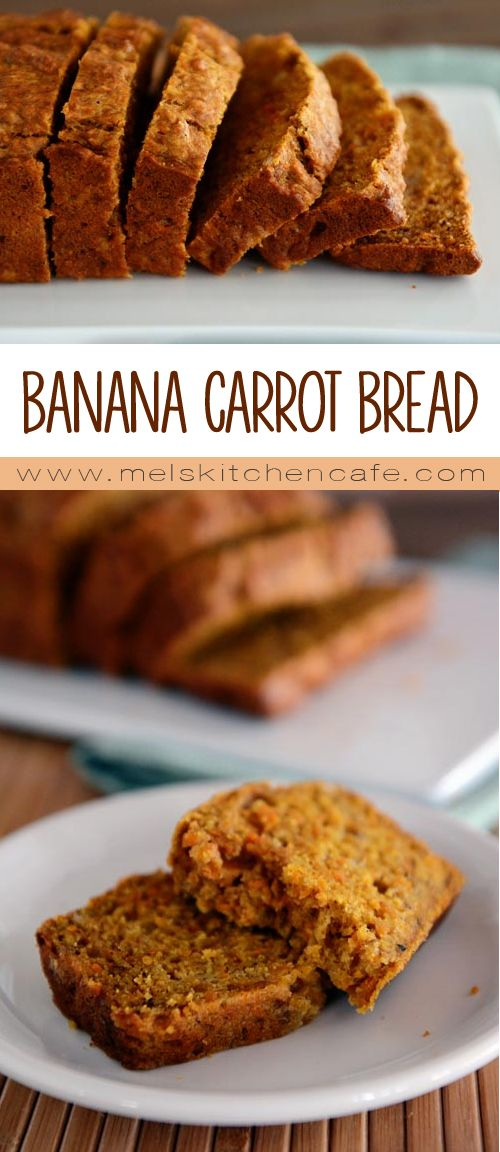 This bread is a lightly sweet banana bread reminiscent of a tender, luxurious carrot cake without all the guilt. Although it would be delicious with frosting!