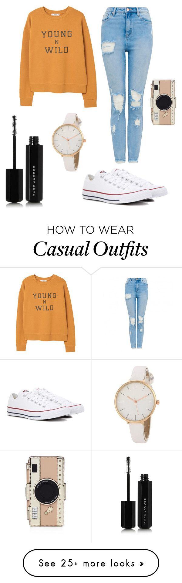 """""""Casual Fall Day"""" by ghostgifts on Polyvore featuring MANGO, Converse, Kate Spade and Marc Jacobs"""