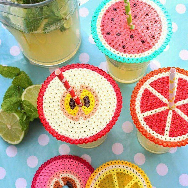 Fuse beads creations that keep the bugs out of your patio drinks and make great coasters