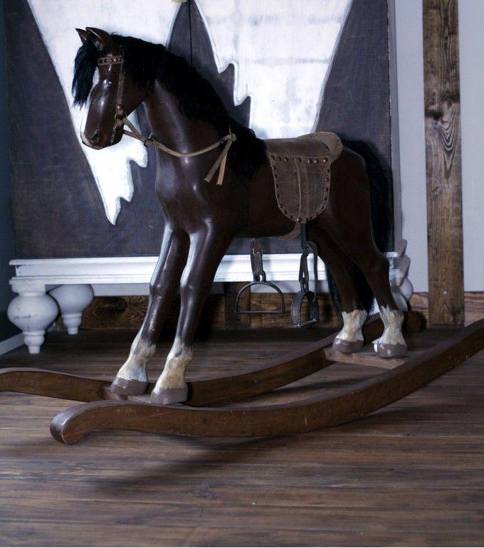 Seno-Art - Интерьерная игрушка из дерева - Лошадка качалка