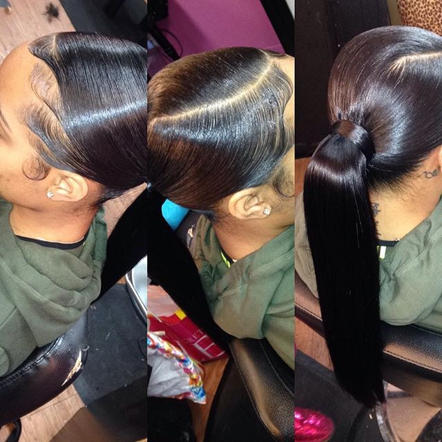 Sleek Low Ponytail Flat Iron Hair Make Sure Everything Is And Wrap Tracks Around Your Feel Until You Get This Look