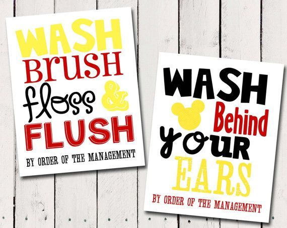kids Bathroom Subway Art rules print Mickey Mouse - Instant Download on Etsy, $10.00
