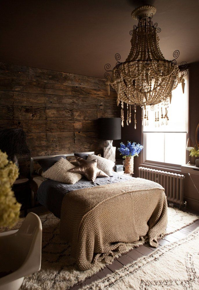 Chandelier and wooden wall   Our Favorite Bedrooms — Best of 2014 | Apartment Therapy