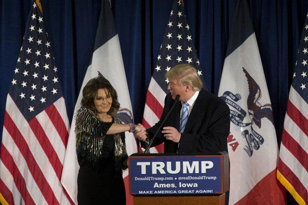 At a rally for Donald J. Trump, Sarah Palin attributed her son Track's recent domestic violence incident to Obama-induced PTSD.