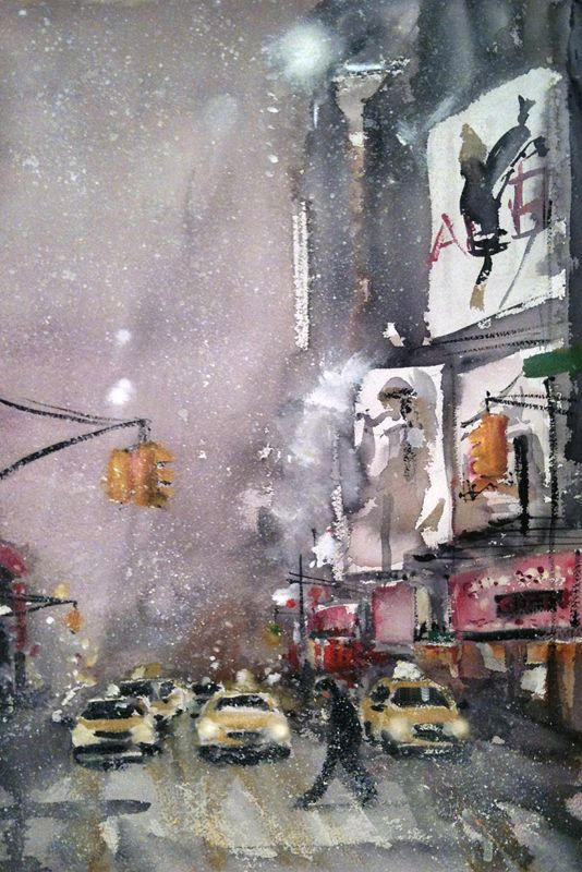 #barbaravontannenberg #newdivision #illustration #watercolour #gouache #textured #streetscene #newyork #yellowcab #snow