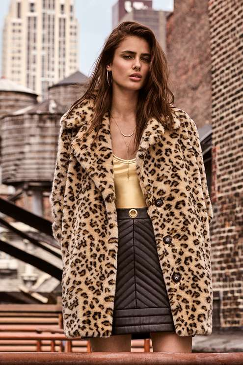 Embrace your inner fashion chameleon with this leopard print faux fur coat, as seen here on our campaign girl Taylor Hill! This cosy jacket is crafted in luxe faux fur, guaranteed to keep you warm in the colder months.