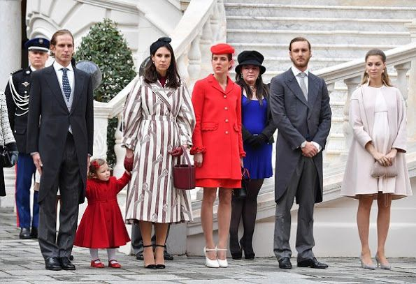 19 November 2016 - Monaco National Day 2016 - coat, dress, shoes, bag and hat by Gucci