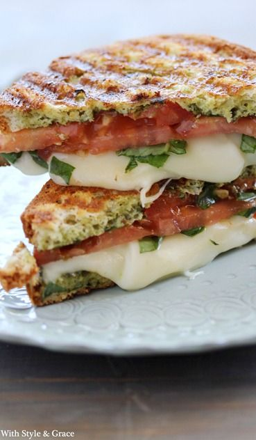 Caprese{ Mozzarella Tomato Basil} Panini. So good and so easy! Don't omit the fresh basil - it makes all the difference. A George Foreman grill works great if you don't have a panini grill.