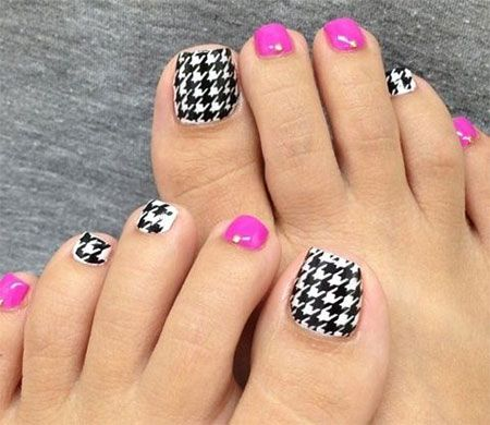 New Houndstooth Toe Nail Art Designs, Concepts, Trends, Stickers ...
