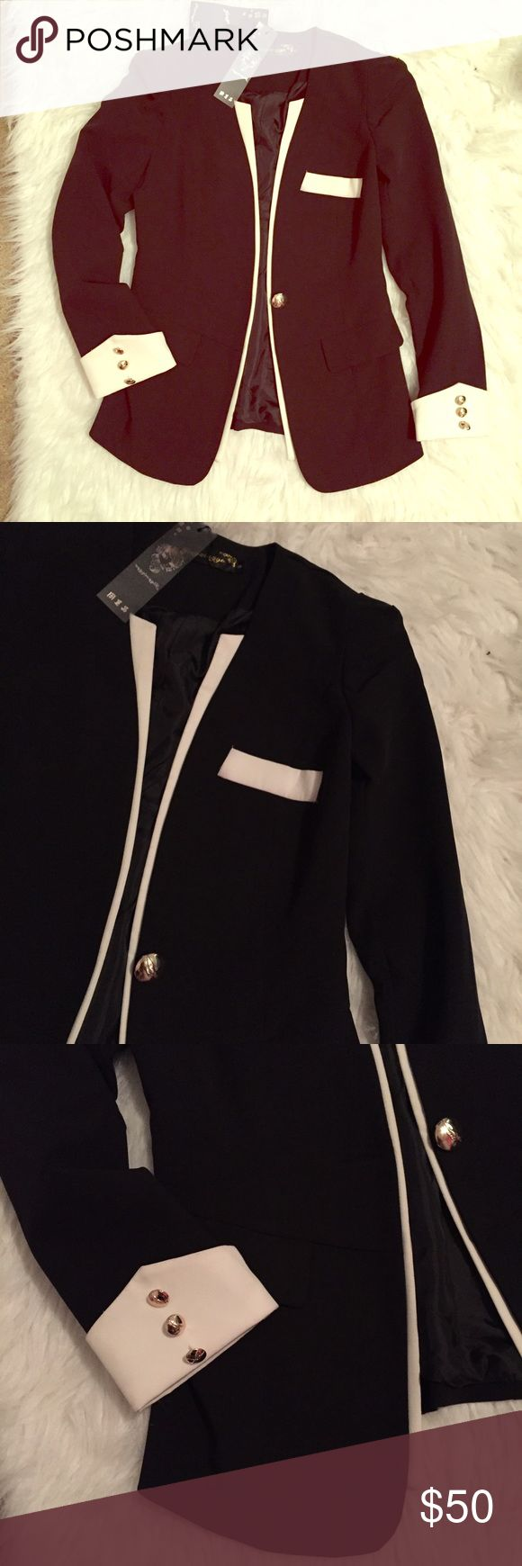 Women's Tuxedo Jacket Black with white detailing and gold buttons. Very tailored feminine fit. New with tags, never worn. Boutique  Jackets & Coats