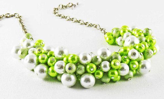 Lime Green Chunky Necklace Summer Wedding by crystaljemscouk