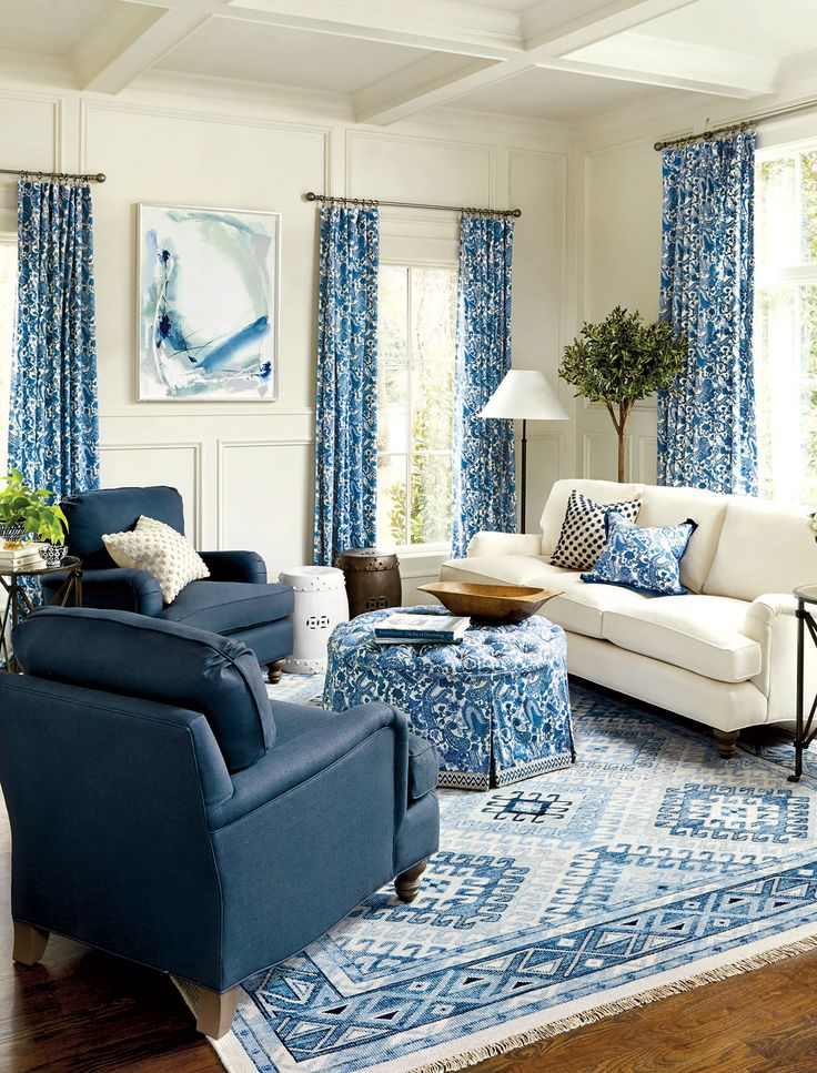 219 best Rooms by color Blue and White images on Pinterest Blue - blue living room chairs
