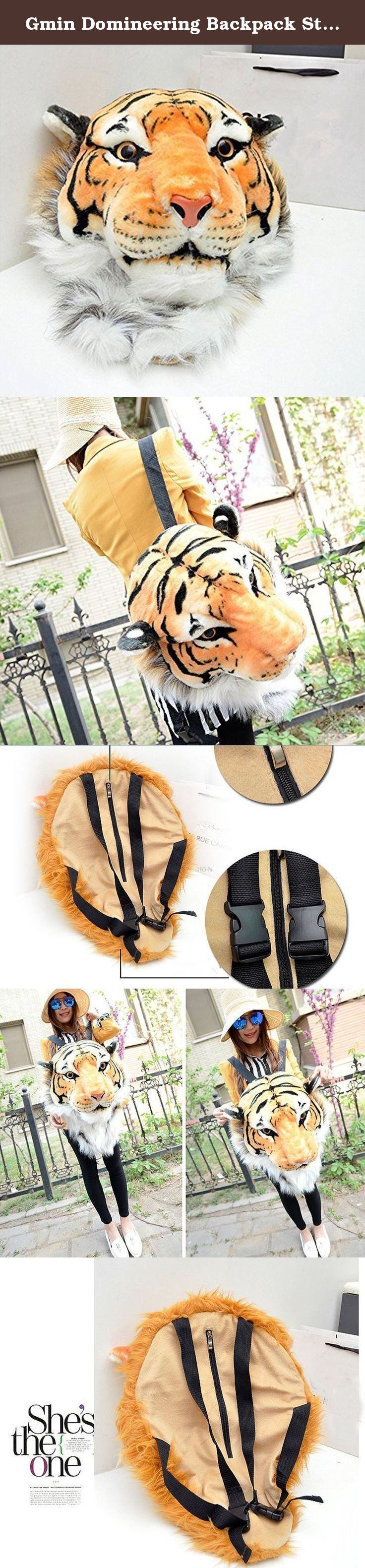 Gmin Domineering Backpack Stuffed Tiger Head 3D Simulation Personalised Shoulder Bag (Yellow / L). • Size: 60cm*40cm*30cm [L*W*H] • Weight: 0.6KG • Wool material is acrylic material inside the tiger skull model is a high-density foam styrofoam • Very cool and personalised design • High simulation, play cool and act fun!.