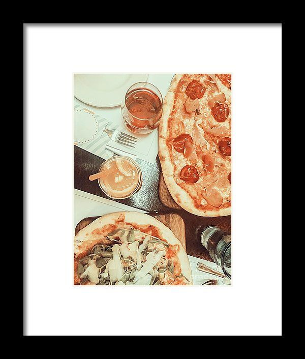Pizza And Lemonade Juice On Table Framed Print