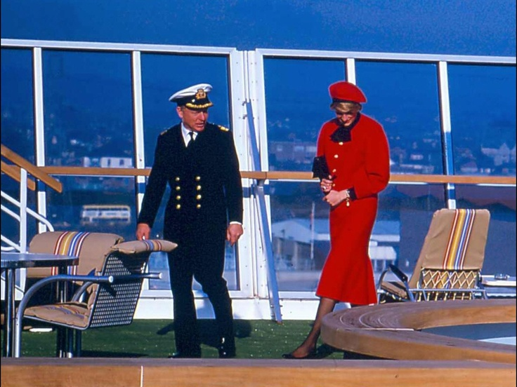 Shown here touring the pool deck of the original Royal Princess in 1984, Princess Diana continued a tradition of royal christenings for passenger ships that dates back at least a century.  Courtesy Princess Cruises
