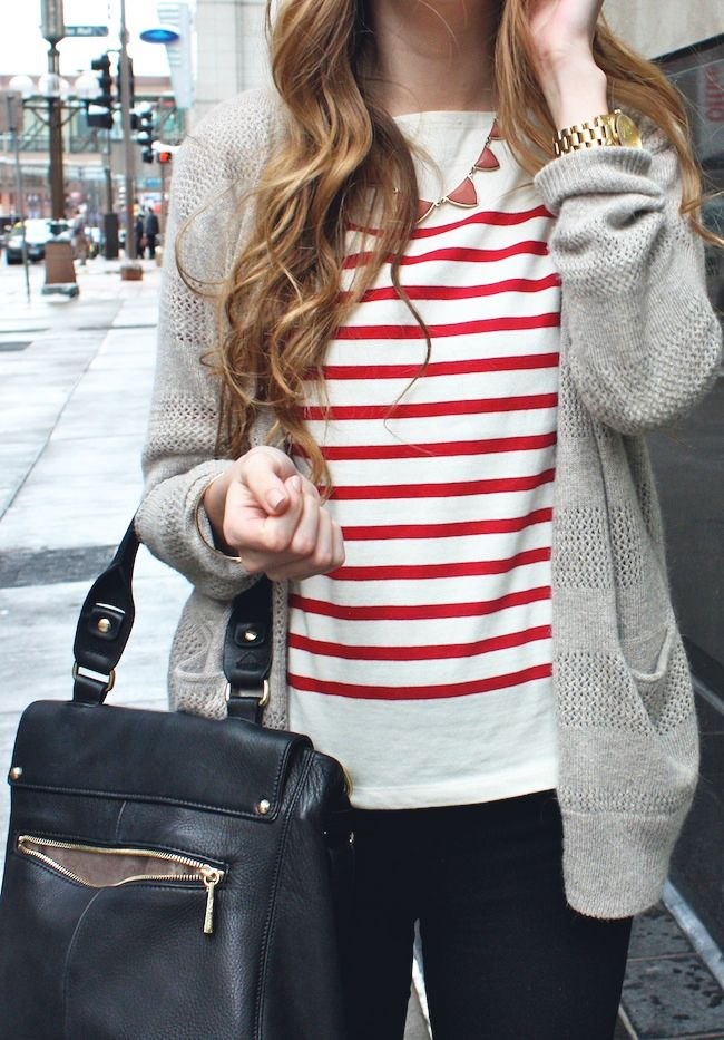 striped top under neutral cardigan