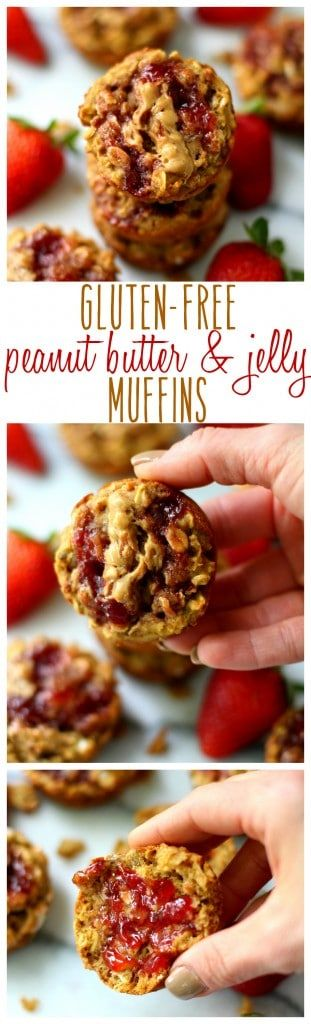 Topped with fruit spread and peanut butter swirls, these Gluten-Free Peanut Butter and Jelly Muffins w/ @smuckers are so soft, tender and scrumptious! {AD}
