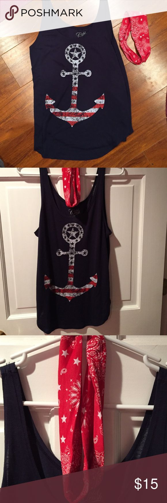 NWOT top with headband Super cute anchor ⚓️ top with matching bandanna headband or can be wrapped up like a wrist band Gold Crush Tops